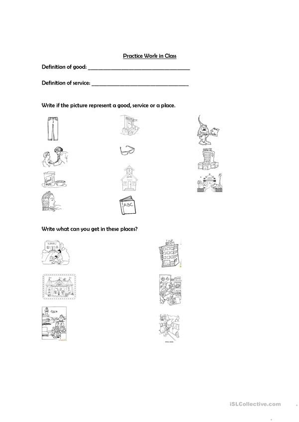Goods and Services Worksheet Goods and Services English Esl Worksheets for Distance