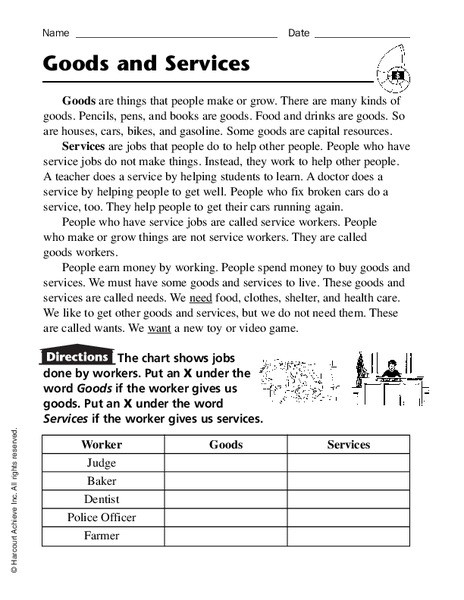 Goods and Services Worksheet Goods and Services Graphic organizer for 2nd 4th Grade
