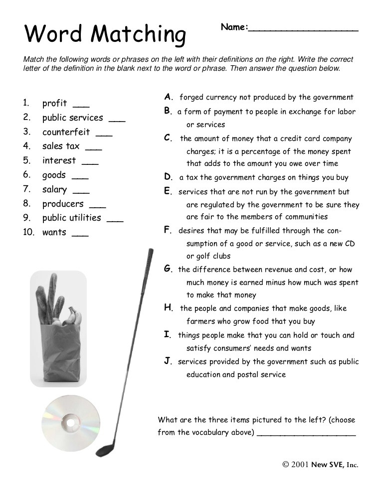 Goods and Services Worksheet Goodsandservices Matching Worksheet