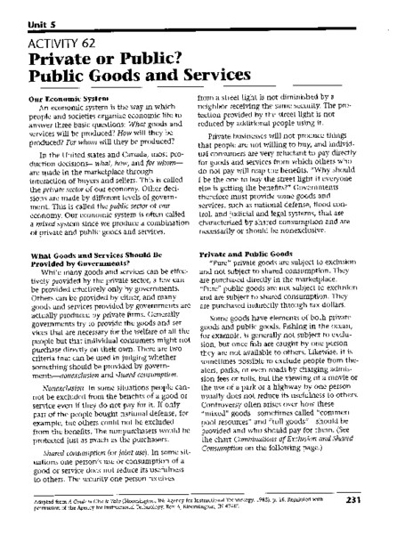 Goods and Services Worksheet Private or Public Public Goods and Services Worksheet for
