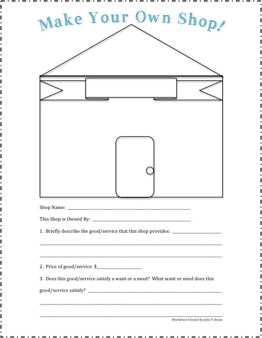 Goods and Services Worksheet Summative assessment Goods & Services