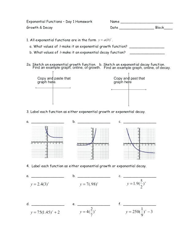 Graphing Exponential Functions Worksheet Exponential Function Growth and Decay Worksheet