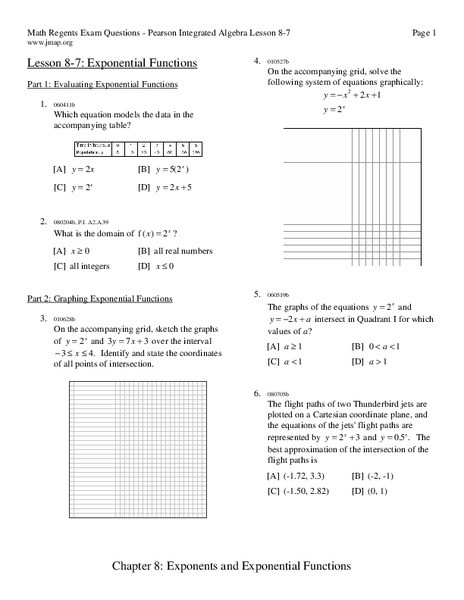 Graphing Exponential Functions Worksheet Exponential Functions Worksheet for 9th 11th Grade