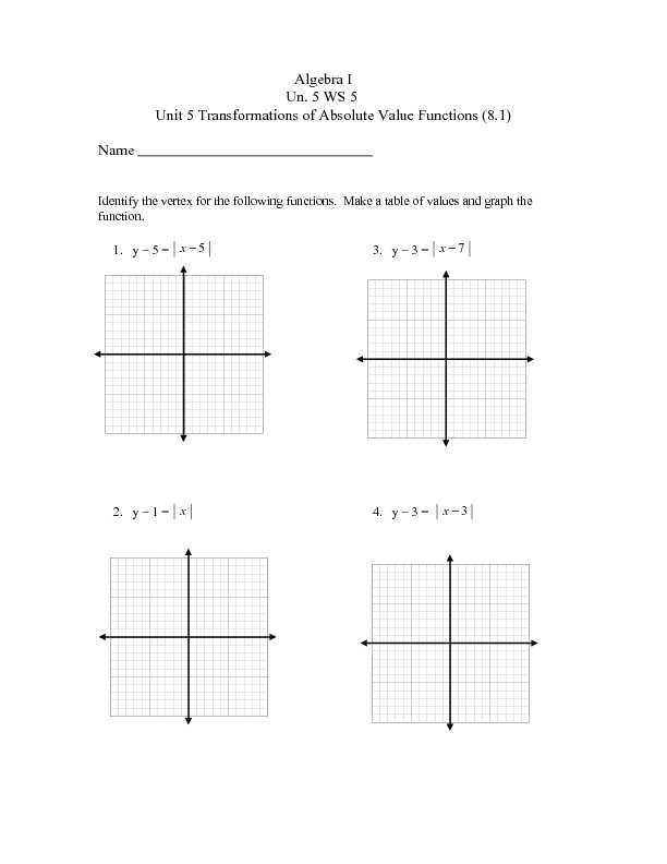 Graphing Piecewise Functions Worksheet 27 Absolute Value Functions and Graphs Answers