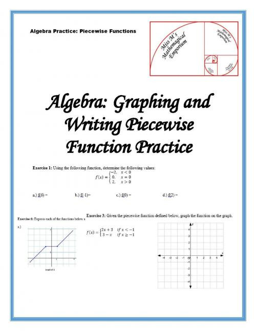 Graphing Piecewise Functions Worksheet Writing and Graphing Piecewise Functions Peertopia