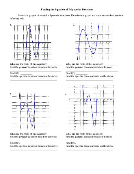 Graphing Polynomial Functions Worksheet Answers Finding the Equation Of Polynomial Functions Worksheet for