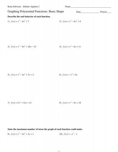 Graphing Polynomial Functions Worksheet Answers Graphing Polynomial Functions Basic Shape Pdf Kuta software