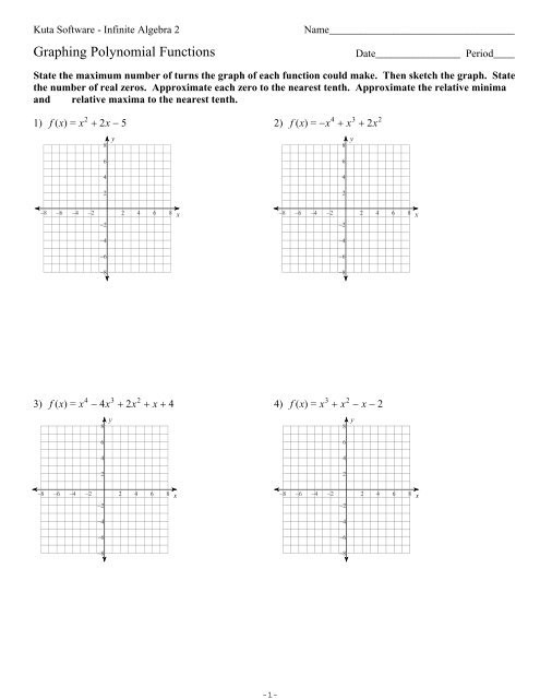 graphing polynomial functionsks ia2 kuta software