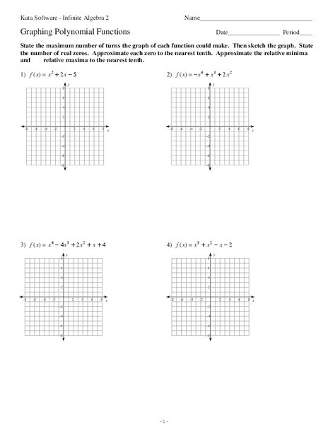 Graphing Polynomial Functions Worksheet Answers Graphing Polynomial Functions Worksheet for 11th Grade