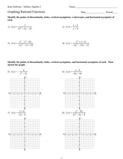 Graphing Rational Functions Worksheet Graphing Rational Functions