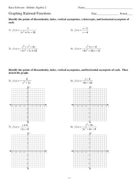 Graphing Rational Functions Worksheet Graphing Rational Functions Worksheet for 11th Grade