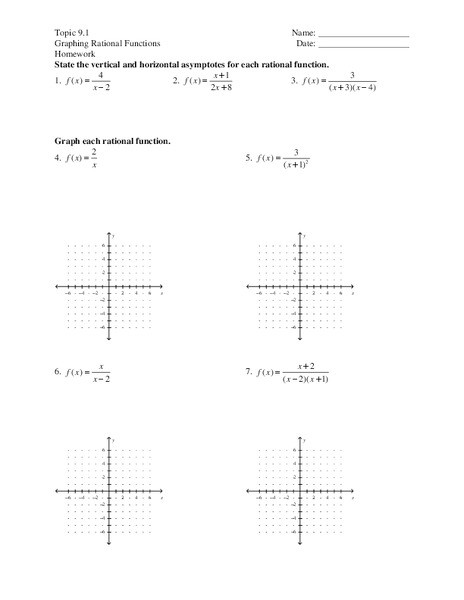 Graphing Rational Functions Worksheet Graphing Rational Functions Worksheet for 9th 10th Grade