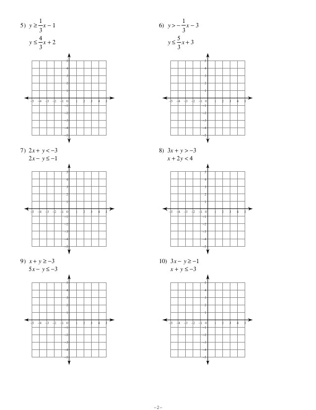 Graphing Systems Of Inequalities Worksheet 7 6 Systems Of Inequalities