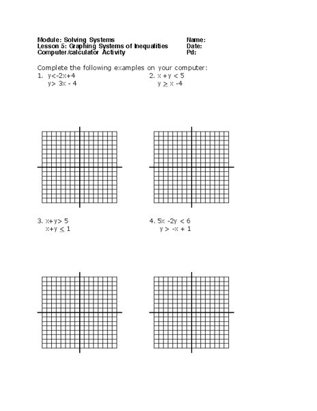 Graphing Systems Of Inequalities Worksheet Systems Of Inequalities Worksheet for 8th 12th Grade