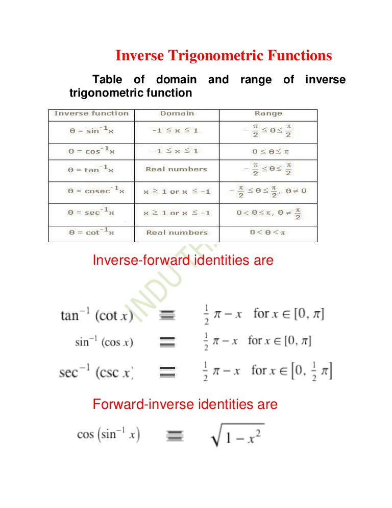 Graphing Trig Functions Worksheet Inverse Trigonometric Functions Xii[1]