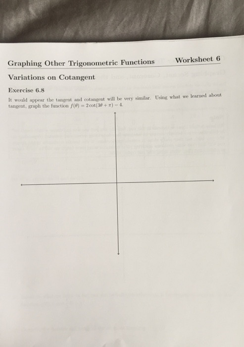 Graphing Trig Functions Worksheet solved Worksheet 6 Graphing Other Trigonometric Functions