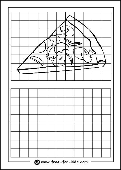 Grid Drawing Worksheets Middle School Practice Drawing Grid with Slice Of Pizza