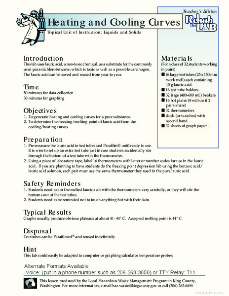 Heating and Cooling Curve Worksheet Heating and Cooling Curves Lesson Plan for 7th 9th Grade