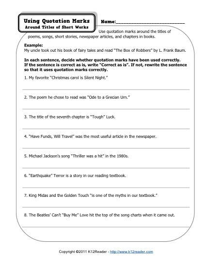 High School Punctuation Worksheets the Quotation Marks Worksheet Punctuation Worksheets First
