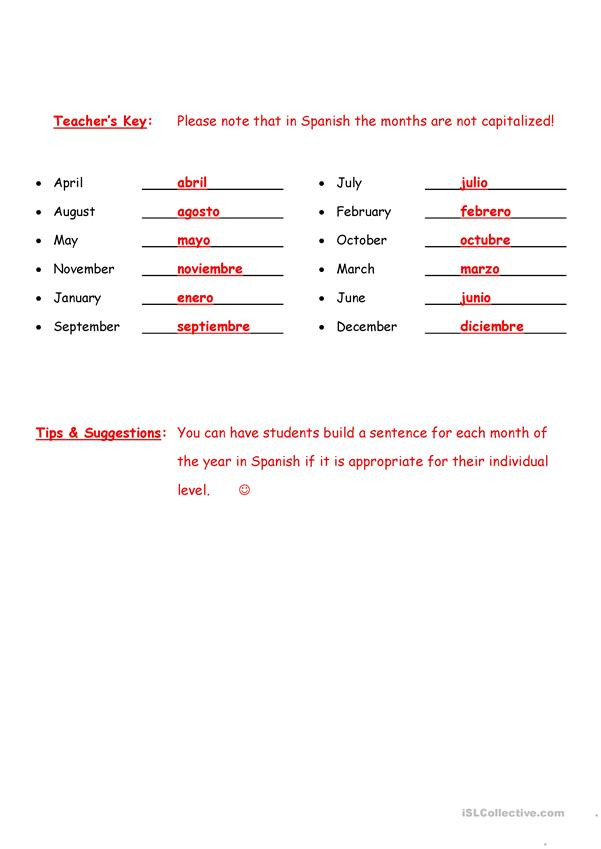 High School Spanish Worksheets Spelling Months Of the Year In Spanish with Key English