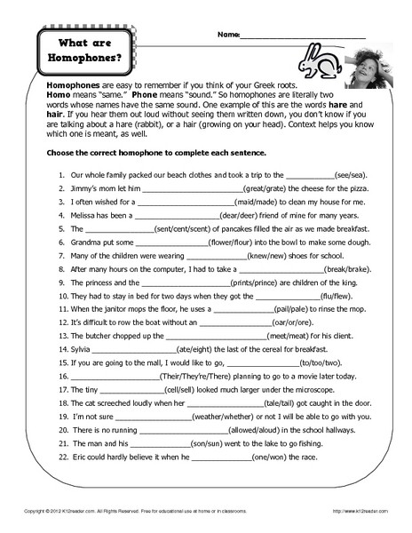 Homophone Worksheets Middle School What are Homophones Worksheet for 7th 9th Grade