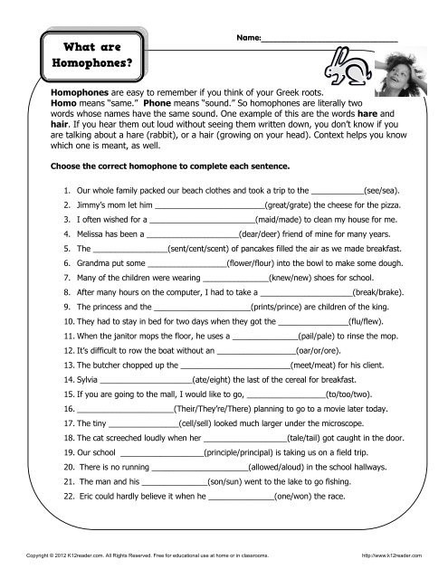 Homophones Worksheet High School What are Homophones