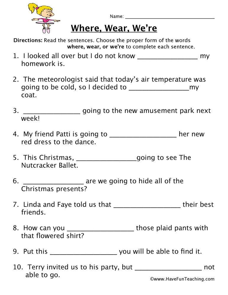 Homophones Worksheet High School where Wear We Re Homophones Worksheet