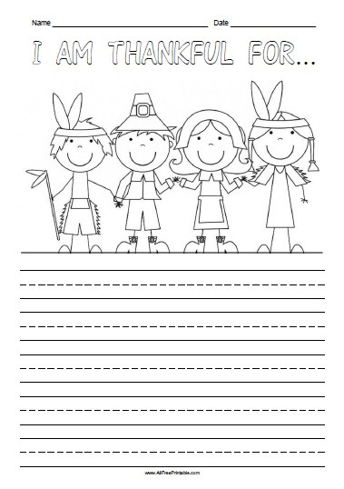 I Am Thankful for Worksheet I Am Thankful for Free Printable Allfreeprintable