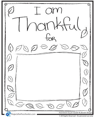 I Am Thankful for Worksheet I Am Thankful for