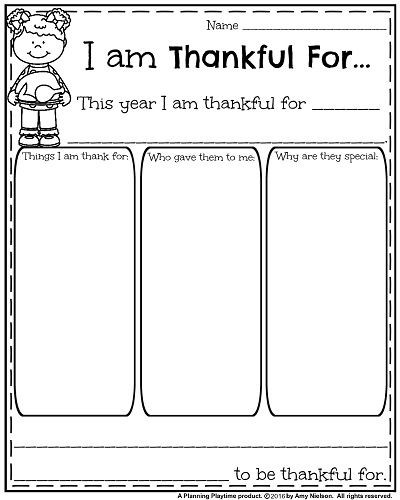 I Am Thankful for Worksheet I Am Thankful for Writing assignment
