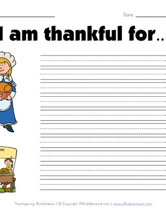 I Am Thankful for Worksheet What are You Thankful for Worksheet