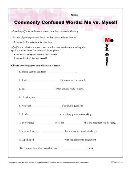 I Vs Me Worksheet Me Vs Myself Worksheet