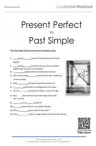 I Vs Me Worksheet Present Perfect Vs Past Simple Consolidation Worksheet