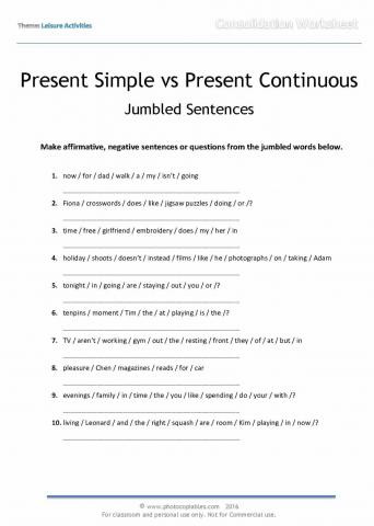 I Vs Me Worksheet Present Simple and Present Continuous Jumbled Sentences