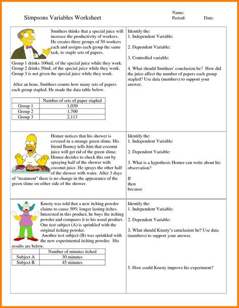 Independent and Dependent Variables Worksheet 6th Grade Hypothesis Worksheet Refrence 7 Independent and