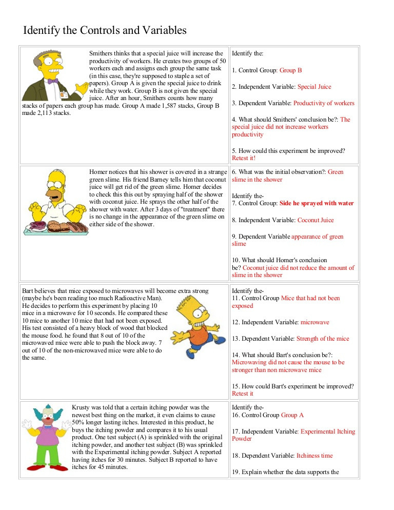 Independent and Dependent Variables Worksheet Bart Simpson Controls and Variables with Answers
