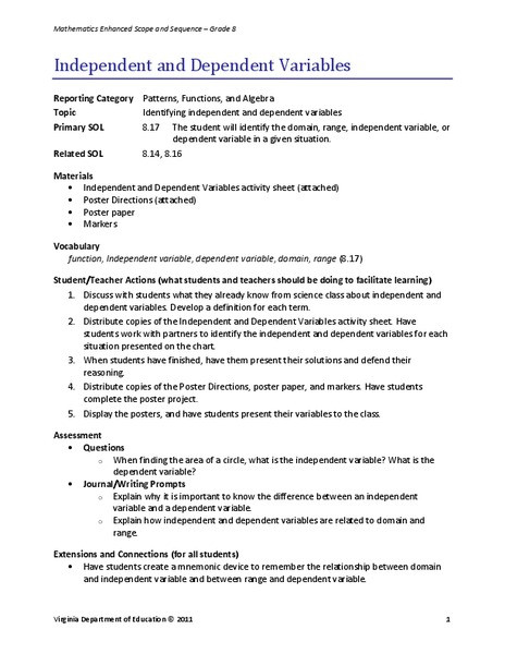 Independent and Dependent Variables Worksheet Independent and Dependent Variables Lesson Plan for 8th