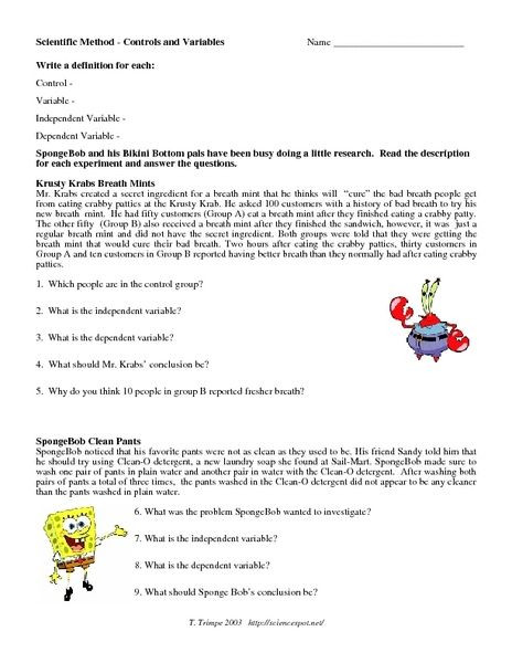 Independent and Dependent Variables Worksheet Scientific Method Control and Variables Worksheet for 5th