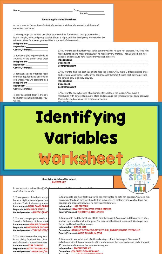 Independent Dependent Variable Worksheet Identifying Variables Worksheet Gives Students Practice with