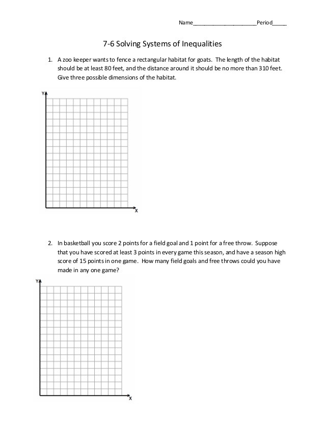 Inequality Word Problems Worksheet 7 6 Systems Of Inequalities Word Problems