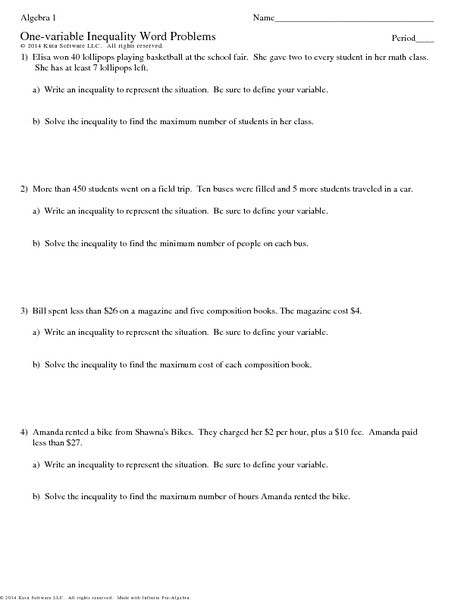 Inequality Word Problems Worksheet E Variable Inequalities Word Problems Worksheet