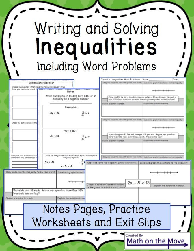 Inequality Word Problems Worksheet Writing Inequalities Worksheet