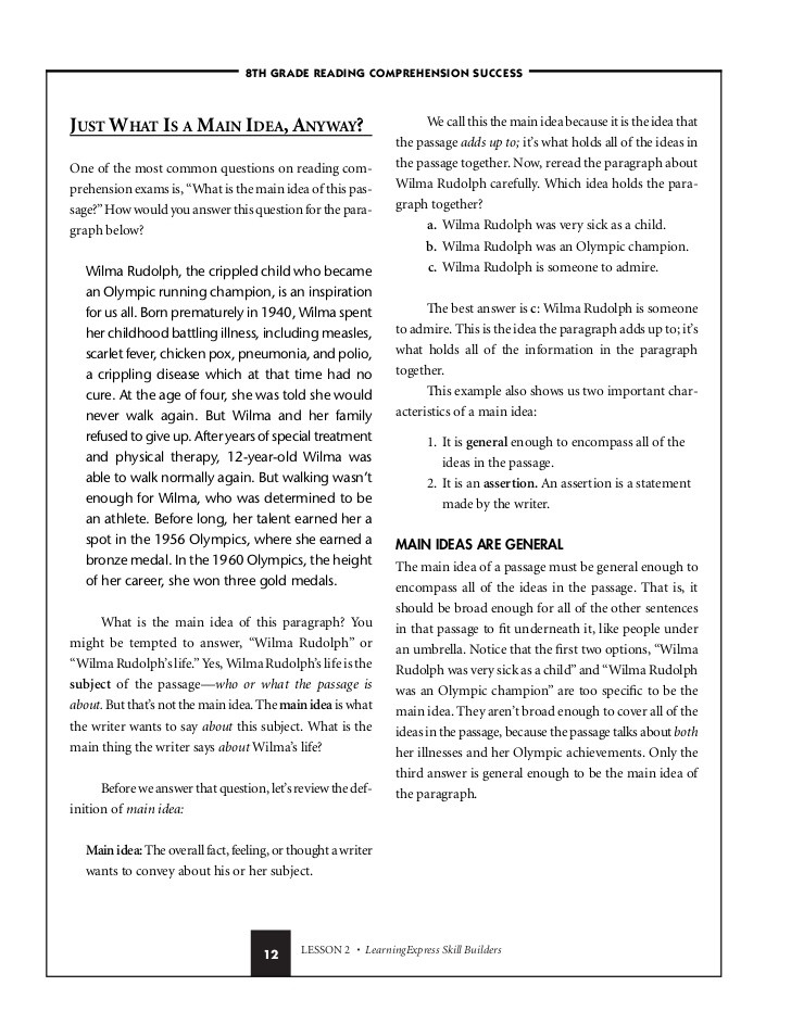 Informational Text Worksheets Middle School 8th Grade Reading Prehension