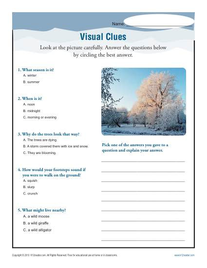 Informational Text Worksheets Middle School Visual Clues