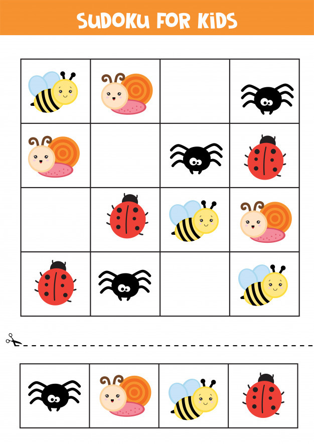 Insect Worksheets for Preschoolers Educational Worksheet for Preschool Kids Sudoku for Kids