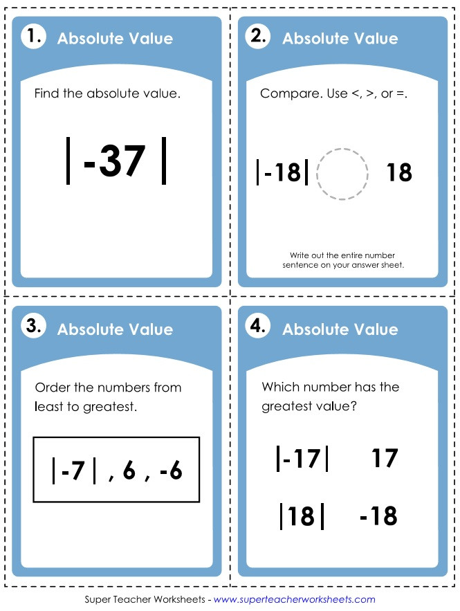 Integers and Absolute Value Worksheet Absolute Value Worksheets