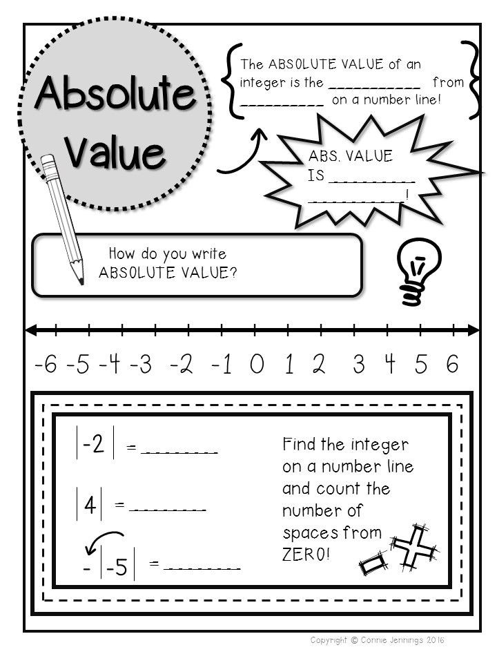 Integers and Absolute Value Worksheet isn Notes for Absolute Value