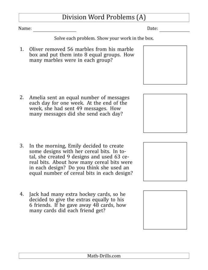 Integers Word Problems Worksheet Division Word Problems with Facts From to Worksheets Math