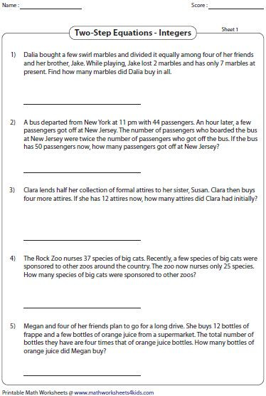 Integers Word Problems Worksheet Two Step Equation Word Problems Integers