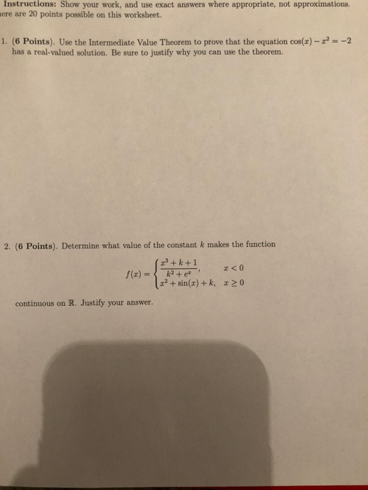 Intermediate Value theorem Worksheet solved Instructions Show Your Work and Use Exact Answer